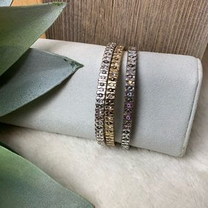 Antique Gold Crystal Stretch 3 bracelet set Gleam